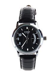 Mme. disque de quantième montre en cuir montre-bracelet à quartz bande