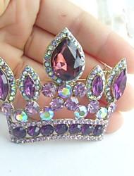 Women Accessories Gold-tone Purple Rhinestone Crystal Crown Brooch Art Deco Crystal Brooch Bouquet Women Jewelry