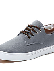 Men's Comfort Vulcanized Shoes Canvas Spring Summer Fall Winter Casual Office & Career Lace-up Flat Heel Beige Gray Blue