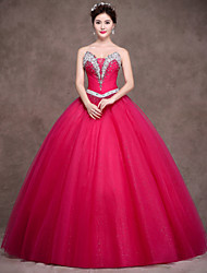 Ball Gown Strapless Floor Length Satin Tulle Evening Dress with Ribbon