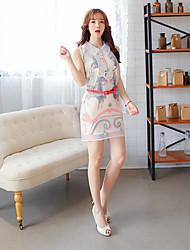 mini vestido, gasa blanco ocasional de la mujer