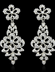 Women's White Elegant AAA Zircon Crystal Drop Earrings for Wedding Party, Fine JewelryImitation Diamond Birthstone