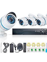 Jooan de ultra barato sistema kit dvr red 4CH precio 1.0MP exterior / interior poe seguridad ip cctv cámara de seguridad del hogar