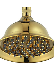 "6"" PVD-TI Gold Finish Brass Telephone Classic Style Water Saving Rain Shower Head for Bath"