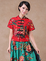 Women's China Style Vintage/Print Inelastic Short Sleeve Regular Shirt (Linen)