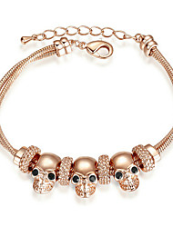 T&C Women's New Style Top Quality Skull Style Dual Chain Charm Bracelet Ladies Peasonality Fashion Jewelry