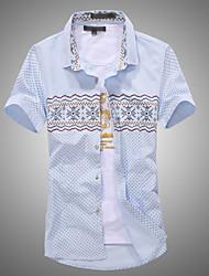Men's Short Sleeve Cotton Casual Print