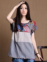 Women's Patchwork Beige/Gray T-shirt , Casual/Cute/Work Round Neck Short Sleeve Tassel/Split