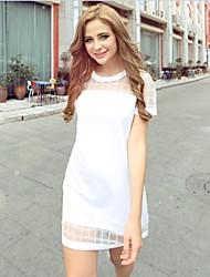 Vestidos ( Gasa/Malla )- Casual Redondo Manga Corta para Mujer