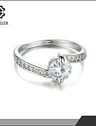 Sjeweler Heart Ring with White Cubic Zircon