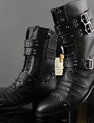 Men's Shoes Outdoor/Casual Leather Boots Black