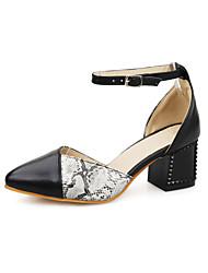 Zapatos de mujer Semicuero Tacón Robusto Puntiagudos Pumps/Tacones Vestido Negro/Blanco