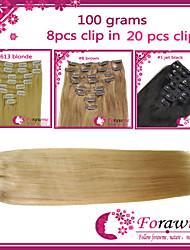 """8pcs / pack 100g 16 """"-22"""" # 1b # 4 # 8 # 613 de clip rubia en la extensión del pelo humano"""