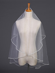 Wedding Veil One-tier Elbow Veils Pearl Trim Edge 55.12 in (140cm) Tulle White / Ivory