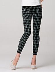 Women's Print Gray Skinny Pants , Party/Work Zipper