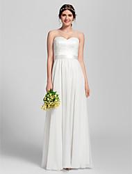 Floor-length Chiffon Bridesmaid Dress - Ivory Petite Sheath/Column Sweetheart
