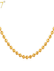 U7® Women's New Cute 18K Real Gold/Platinum Plated Little Beads Resizable Simple Chain Necklace