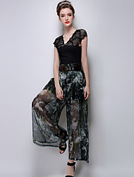 TS Women's Casual Inelastic High Waist Simplicity Print Thin Wide Leg Pants (Chiffon/Rayon)
