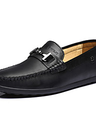 Men's Boat Shoes Spring Summer Other Leather Office & Career Party & Evening Casual Flat Heel Black Brown Army Green