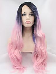 sylvia laço sintético peruca frente raízes negras rosa longas cabeleiras roxas cabelo calor três tons ombre resistentes onduladas