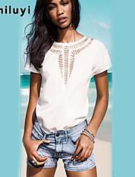 Women's Sexy/Casual Micro-elastic Short Sleeve Regular Blouse (Chiffon)