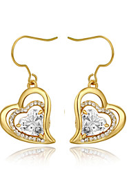 T&C Women's Concise 18K Yellow Gold Plated Clear Simulated Diamond Heart Dangle Earrings