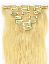 15'' 7pcs Clips in Human Hair Extensions Blond 70g for Women's Beauty Hairsalon in Fashion