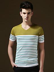 Men's Short Sleeve T-Shirt , Cotton/Lycra Casual/Work/Formal/Sport/Plus Sizes Striped