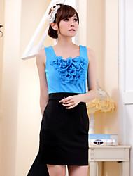 Women's Color Block Blue/Orange Dress , Casual Round Neck Sleeveless
