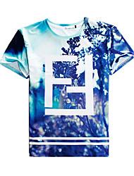 Camisetas ( Algodón Compuesto )- Playa/Casual/Impresión/Bonito/Fiesta/Trabajo Redondo Manga Corta para Hombre