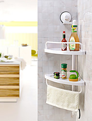 Powerful Swift Coner Sucker 2 Tier Storage Shelf With Tower Bar Swift Coner/ Bathroom Sucked Rack Storage Shelf