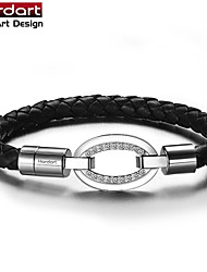 Black Genuine Leather Rope Bangle with 316L Stainless Steel Band with CZ Stones Set  with Magnet Buckle for Women