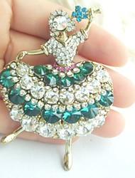 Women Accessories Gold-tone Green Clear Rhinestone Crystal Brooch Art Deco Crystal Dancing Girl Brooch Women Jewelry