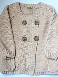 Girl's  sweater and round collar pink wear
