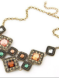 New Arrival Fashion Jewelry Retro Geometric Gem Necklace