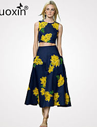 nuoxin® Women's Round  Collar Sleeveless Print Short Vest + The Big Pendulu Collect Waist Long Skirt Suits And Separates