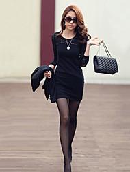 De las mujeres Vestido Sobre la rodilla Encaje/Algodón - Manga Larga