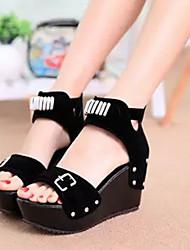 DOPO Women's Shoes Black/Blue Wedge Heel 10-12cm Sandals