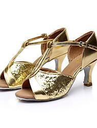 sandálias sol lisa salsa latina das mulheres customizáveis cetim sapatos de dança paillette fivela (mais cores)