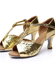 Women's Dance Shoes Latin / Salsa / Ballroom Satin/Paillette Heel Black / Brown / Red / Silver / Gold Customizable