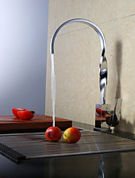 Contemporary Chrome Finish One Hole Single Handle Rotatable Kitchen Faucet