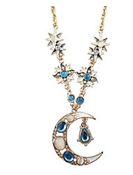 New Arrival Fashional Hot Selling Rhinestone Long Moon Necklace