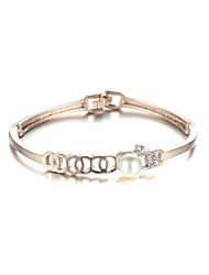 Sjewelry Girls Latest Style White Pearl Plating Rose Gold Bracelet