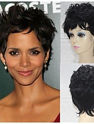 100% Human Hair Wig Top Quality Capless Halle Berry Graceful Hairstyle Super Natural Short Curly Black hair Wigs