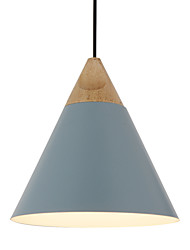 Mini Artistic Cone Pendant Lamp/1 Light/Mordern Simplicity/Finish Black/White/Dusty Blue/Aluminum & Wooden Droplight