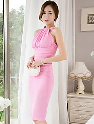 TS Women's Sexy Micro-elastic Halter Off The Shoulder Backless Sleeveless Party Knee-length Dress (Chiffon)