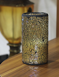 Simplux™ 3*6'' Lightyellow Crack Pattern Mosaic Glass Flameless Led Wax Candle with Timer,Work with 2 C Battery