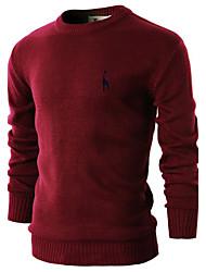 JOGAL Men's Casual/Work Pure Long Sleeve Regular Pullover (Cotton/Knitwear)