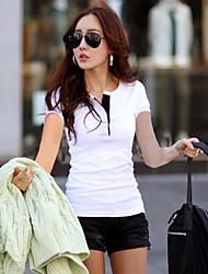 Damen Solide Einfach / Street Schick Lässig/Alltäglich T-shirt,V-Ausschnitt Sommer Kurzarm Rot / Weiß / Grün / Lila Baumwolle Dünn
