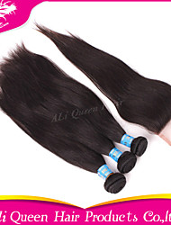 Ali Queen Hair Products 3Pcs 6A Peruvian Hair Straight With 1Pcs 4*4 Swiss Lace Closures 100% human hair